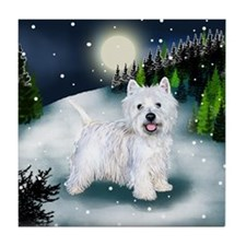 WEST HIGHLAND TERRIER DOG SNOW Tile Coaster