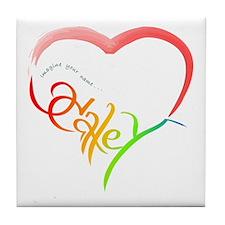 Haley rainbow heart Tile Coaster