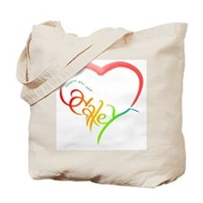 Haley rainbow heart Tote Bag