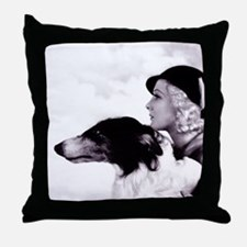 Art Deco Borzoi Flapper Throw Pillow