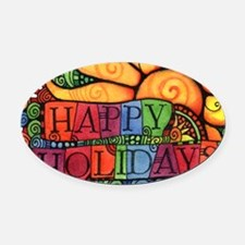 Unique Peace on earth Oval Car Magnet