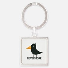Nevermore Raven Square Keychain