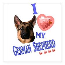 "I love my German Shepherd 3 Square Car Magnet 3"" x"