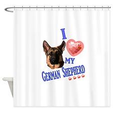 I love my German Shepherd 3 Shower Curtain