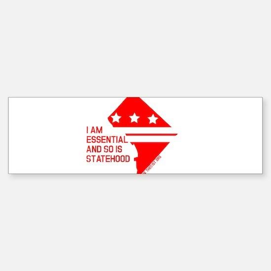 I AM ESSENTIAL-RED Bumper Bumper Bumper Sticker