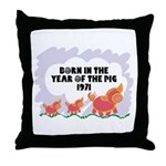 1971 Year Of The Pig Throw Pillow