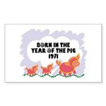 1971 Year Of The Pig Rectangle Sticker