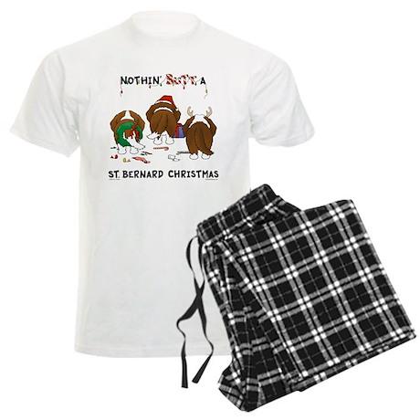 St. Bernard Christmas Men's Light Pajamas