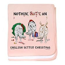 English Setter Christmas baby blanket
