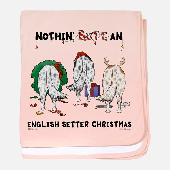 English Setter Christmas baby blanket