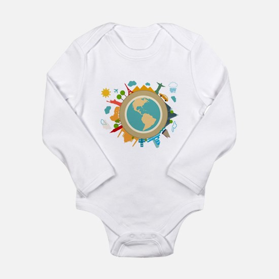 World Travel Landmarks Long Sleeve Infant Bodysuit