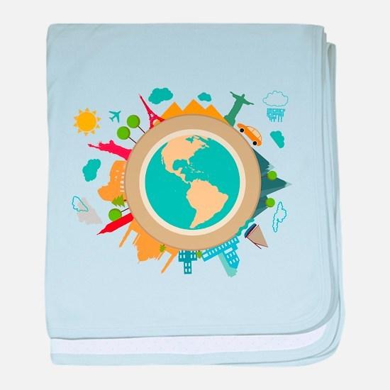 World Travel Landmarks baby blanket