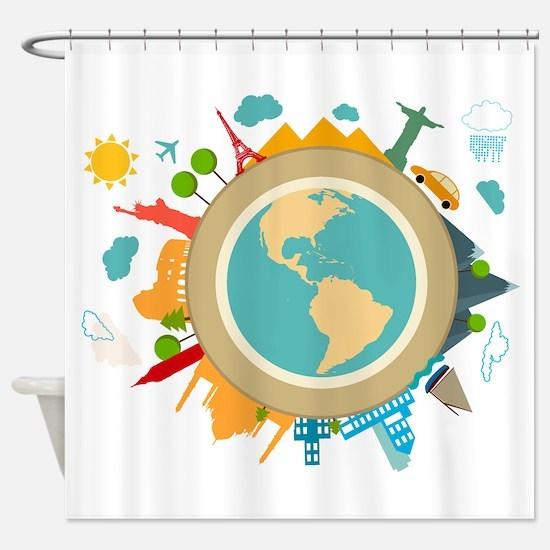 World Travel Landmarks Shower Curtain