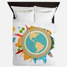 World Travel Landmarks Queen Duvet