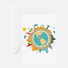 World Travel Landmarks Greeting Cards (Pk of 20)