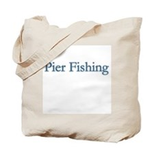 Pier Fishing - text Tote Bag