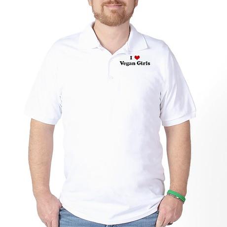 I Love Vegan Girls Golf Shirt