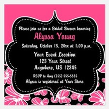 Pink Black Floral Invitations