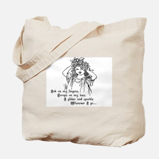 Victorian Girl Ink On Fingers Tote Bag