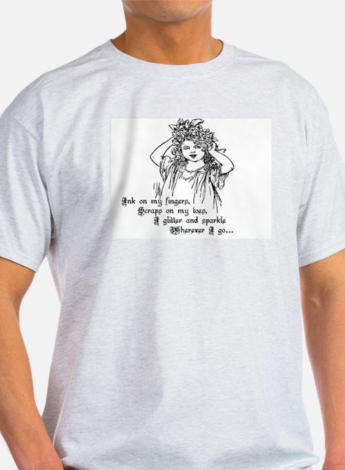 Victorian Girl Ink on Fingers Ash Grey T-Shirt