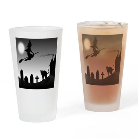 HALLOWEEN WITCH SILHOUETTE Drinking Glass