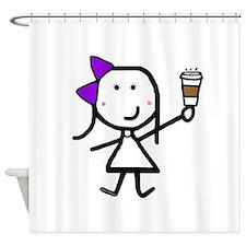 Purple Girl & Coffee Shower Curtain