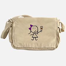 Purple Girl & Coffee Messenger Bag