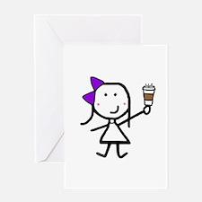 Purple Girl & Coffee Greeting Card