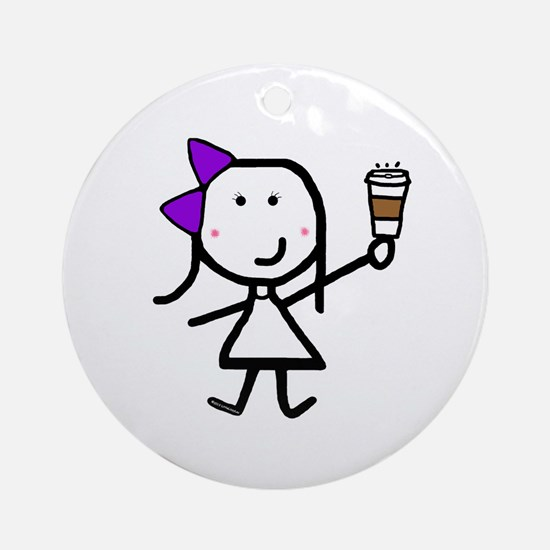 Purple Girl & Coffee Ornament (Round)