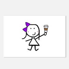Purple Girl & Coffee Postcards (Package of 8)