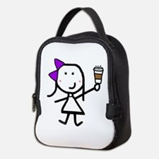 Purple Girl & Coffee Neoprene Lunch Bag