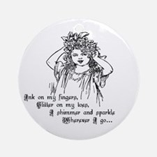Victorian Girl Ink On Fingers Ornament (Round)
