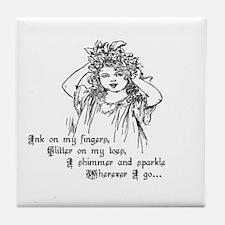 Victorian Girl Ink On Fingers Tile Coaster