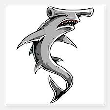 "Hammerhead Shark Square Car Magnet 3"" x 3"""