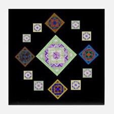 1881 quilting bee Tile Coaster
