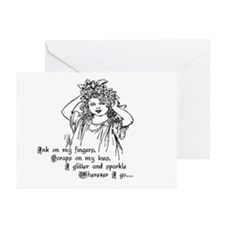 Victorian Girl Ink On Fingers Greeting Cards (Pack