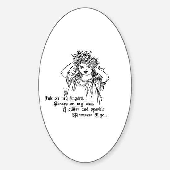 Victorian Girl Ink On Fingers Oval Decal
