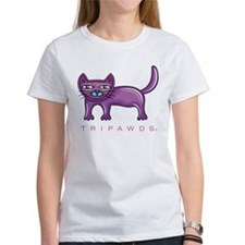 Purble Rear Leg Tripawd Cat Tee