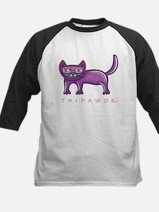 Purple Rear Leg Tripawd Cat Kids Baseball Jersey