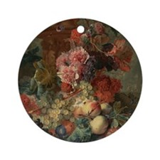 Fruit Piece by Jan van Huysum 1722 Round Ornament