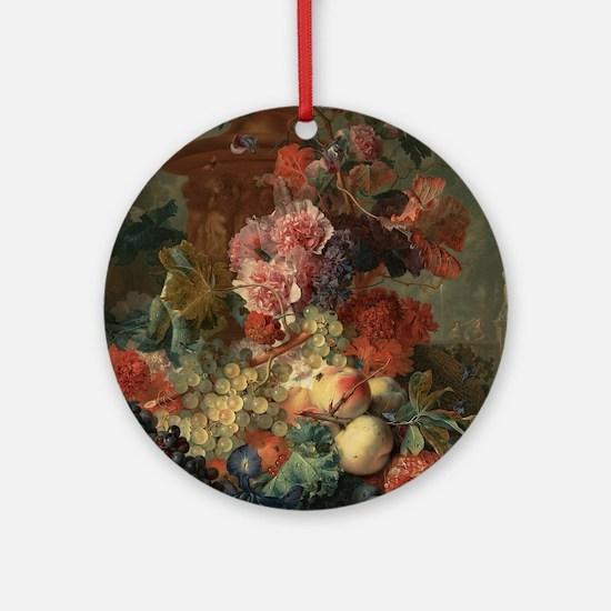Fruit Piece by Jan van Huysum 1722 Round Ornament