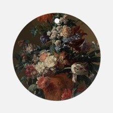 Vase of Flowers by Jan van Huysum 1 Round Ornament