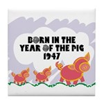 1947 Year Of The Pig Tile Coaster