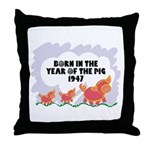 1947 Year Of The Pig Throw Pillow