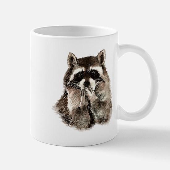 Cute Humorous Watercolor Raccoon Blowing a Kiss Mu