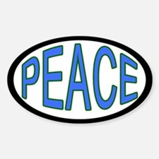 Blue and Green Peace Oval Decal