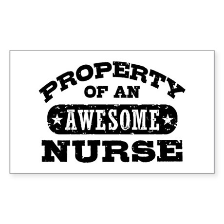 Property of an Awesome Nurse Sticker (Rectangle)
