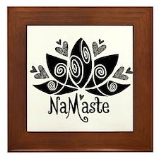 Namaste BW Lotus Framed Tile