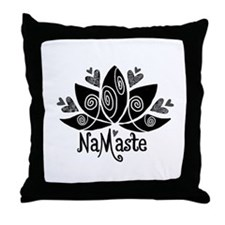 Namaste BW Lotus Throw Pillow