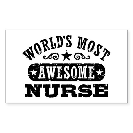 World's Most Awesome Nurse Sticker (Rectangle)